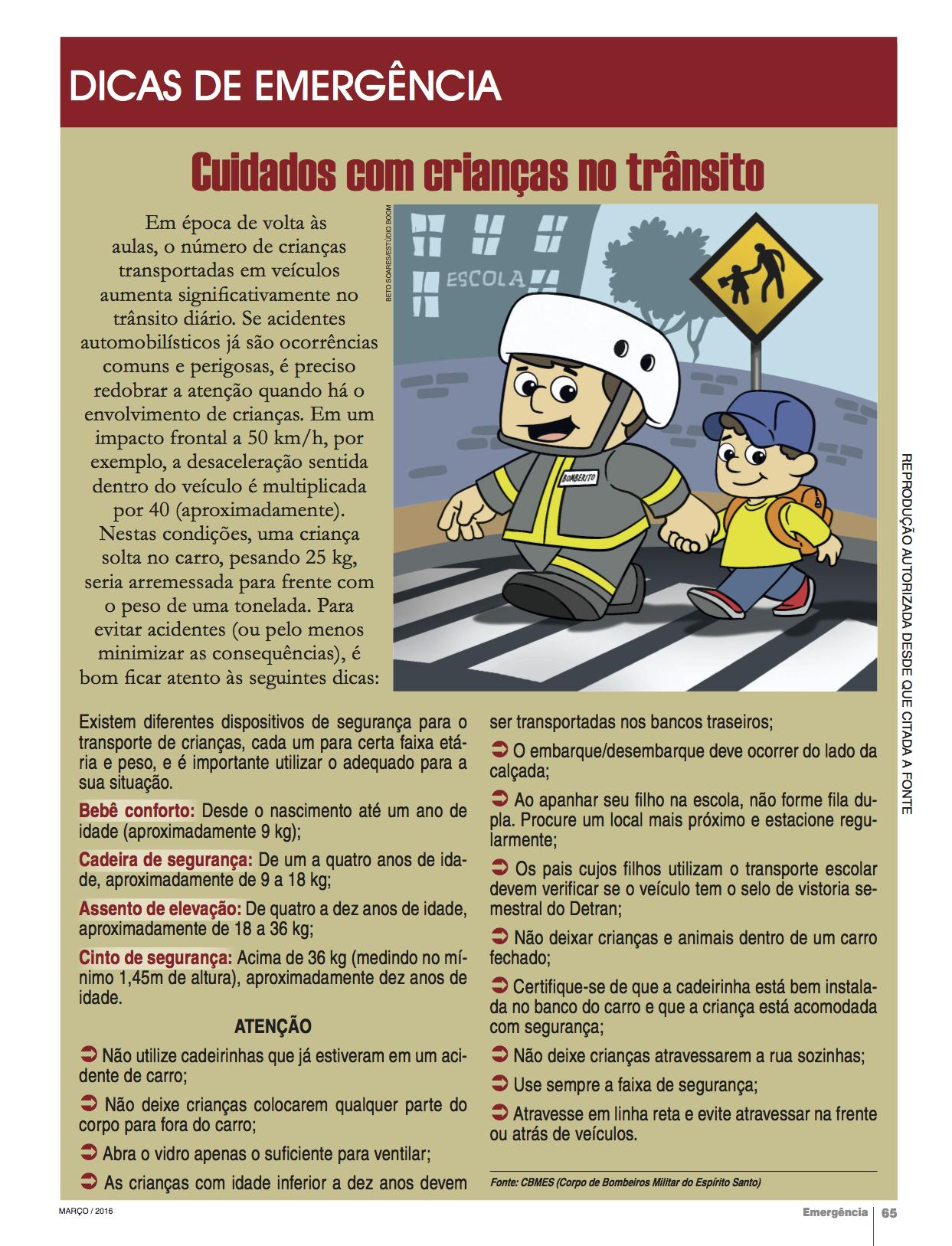 Cuidados com crianças no trânsito